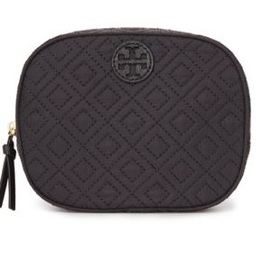 NWT Tory Burch Ella Quilted black Cosmetic bag